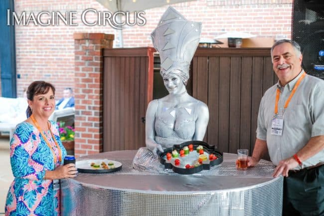 Silver Strolling Table, Performer, Classy Art, Imagine Circus, Azul, Photo by the Nixons Photography