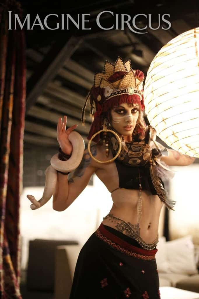Snake Charmer, Belly Dancer, Imagine Circus, Performer, Tik Tok, Photo by Paul Spring