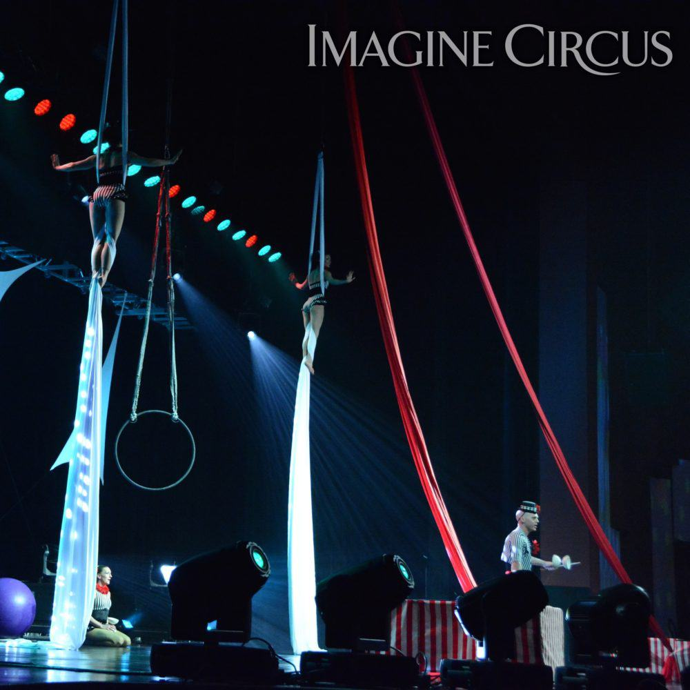 Aerial Silks, Diabolo, Stage-Show, Harrah's Casino, Cherokee, NC, Imagine Circus, Performers, Adam, Kaci, Liz, Photo by Susan Dipert Scott