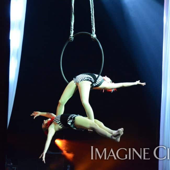 Partner Aerial Hoop, Lyra, Harrah's Casino, Cherokee NC, Imagine Circus Performers, Katie and Liz, Photo by Susan Dipert Scott