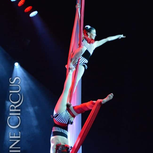 Partner Aerial Silks, Harrahs Casino, Cherokee, NC, Imagine Circus, Performers, Kaci and Liz, Photo by Susan Dipert Scott