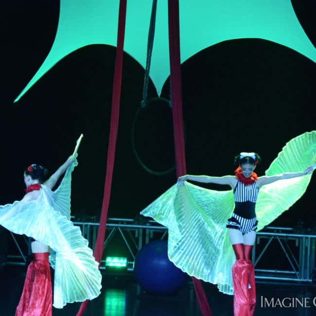 Stilt Walkers, Circus Stage Show, Harrahs Casino, Cherokee, NC, Imagine Circus, Performers, Kaci, Katie, Photo by Susan Dipert Scott
