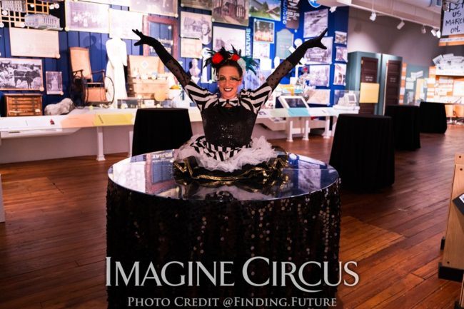 Big Top Circus, Living Table, Strolling Table, Performer, Katie, Imagine Circus, Photo by Finding Future