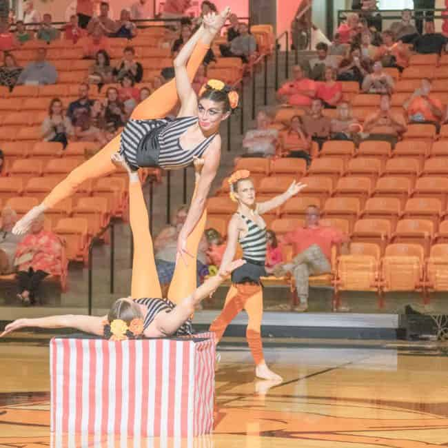 Acrobats, Imagine Circus, Campbell University, Kaci, Katie, Callie, Photo by Slater Mapp