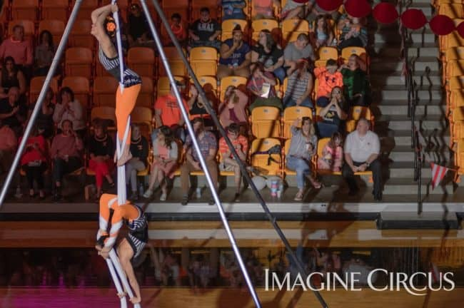 Aerial Dance Duo Silks, Imagine Circus, Campbell University, Kaci, Liz, Photo by Slater Mapp