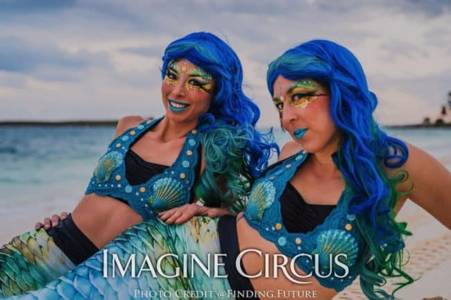 Mermaids, Beach Mermaids, Aerial Dancers, Imagine Circus, Performers, Liz, Kaci, Photo by Finding Future