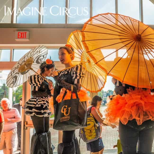 Stilt Walkers, Imagine Circus, Campbell University, Stephanie, Photo by Slater Mapp
