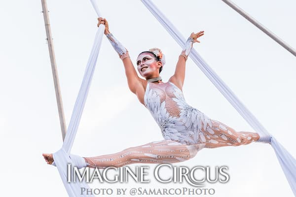 Aerial SilkDancer, White Cirque, Kaci, Imagine Circus, Walter Magazine, Photo by Gus Samarco
