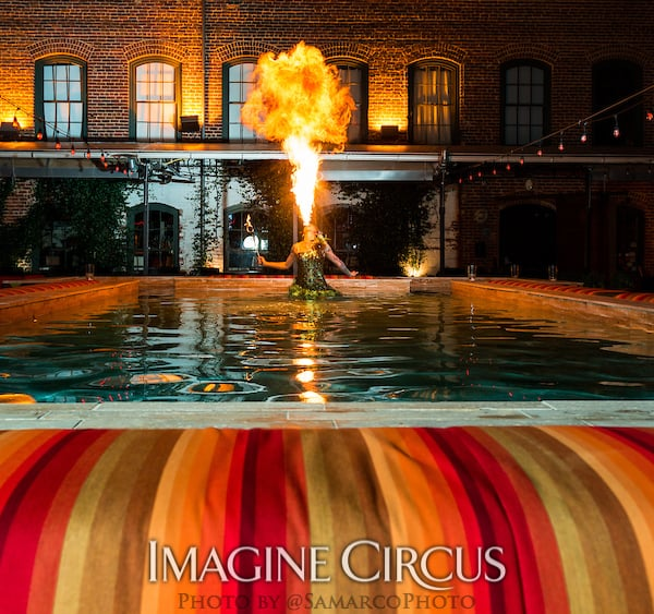 Fire Breathing Dancer in Water, Tik-tok, Imagine Circus, Walter Magazine, Photo by Gus Samarco