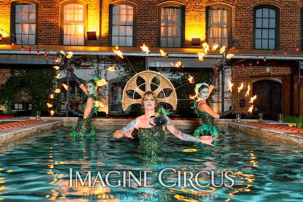 Fire Dancers in Water, Kaci, Tik-Tok, Liz, Imagine Circus, Mulino Italian Kitchen and Bar, Walter Magazine, Photo by Gus Samarco