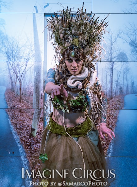 Snake Charmer, Tik-tok, Green Forest Fairy, Imagine Circus, Walter Magazine, Photo by Gus Samarco