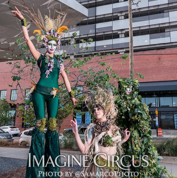 Vine Stilt Walkers, Green Forest Fairy, Snake Charmer, Kaci, Liz, Tik-tok, Imagine Circus, Walter Magazine, Photo by Gus Samarco