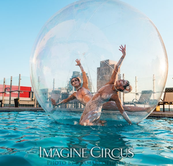 Water Bubble Ball Duo Dancers, White Cirque, Kaci, Liz, Imagine Circus, Walter Magazine, Photo by Gus Samarco