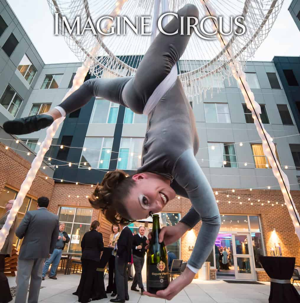 Aerial Bartender, Aerial Chandelier, Performer, Katie, Chapel Hill, NC Imagine Circus, Photo by Adrian Moreno of amproductphotography.com
