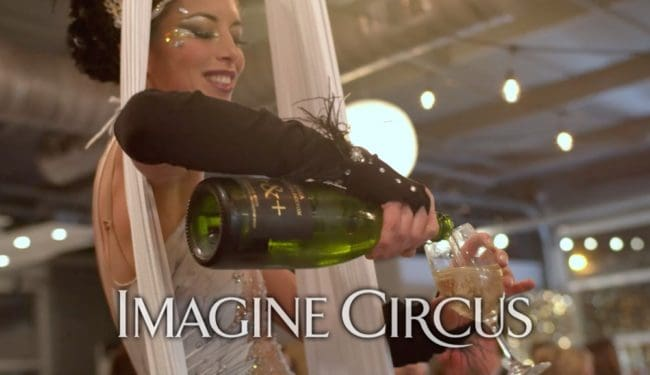 Aerial Bartending, Champagne Service, Vintage, Gatsby, Upscale Entertainment, Performer, Kaci, Imagine Circus, Still from Video by Finding Future
