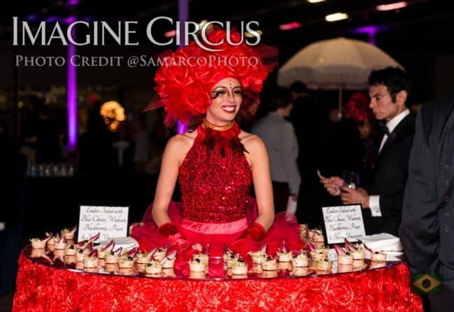 Red Rose, Strolling Food Table, VAE Gala, Imagine Circus, Performer, Kaci, Photo by Gus Samarco
