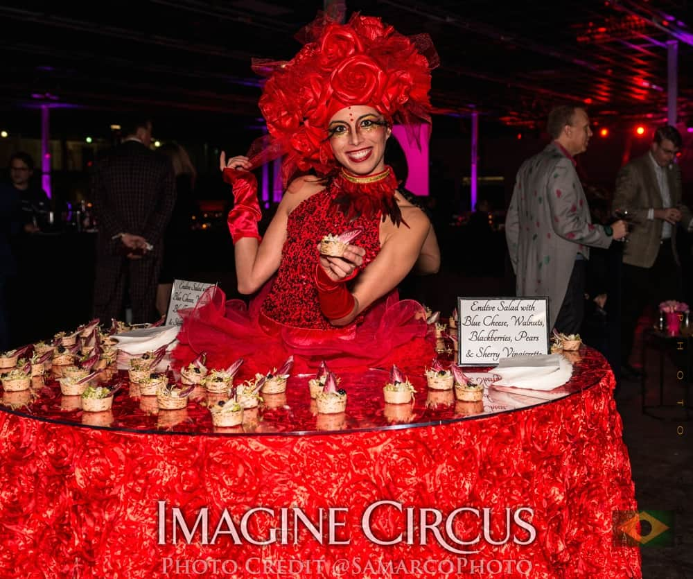 Red Rose, Strolling Food Table, VAE Gala, Imagine Circus, Performer, Kaci, Photo by Gus Samarco