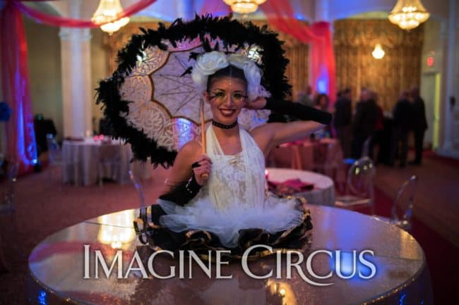 Strolling Table, Gold, White, Black, BCBS Pinehurst, Imagine Circus, Performer, Kaci