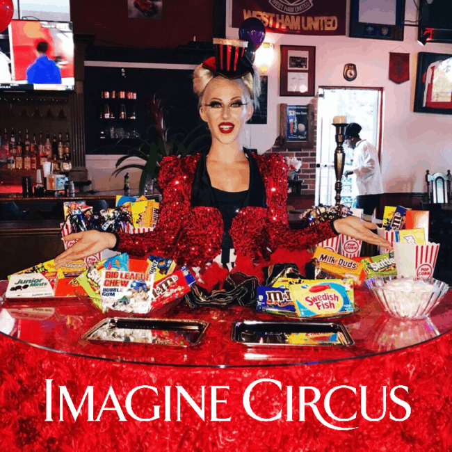 Strolling Table, Candy Girl, Big Top Circus, Whitney, Imagine Circus