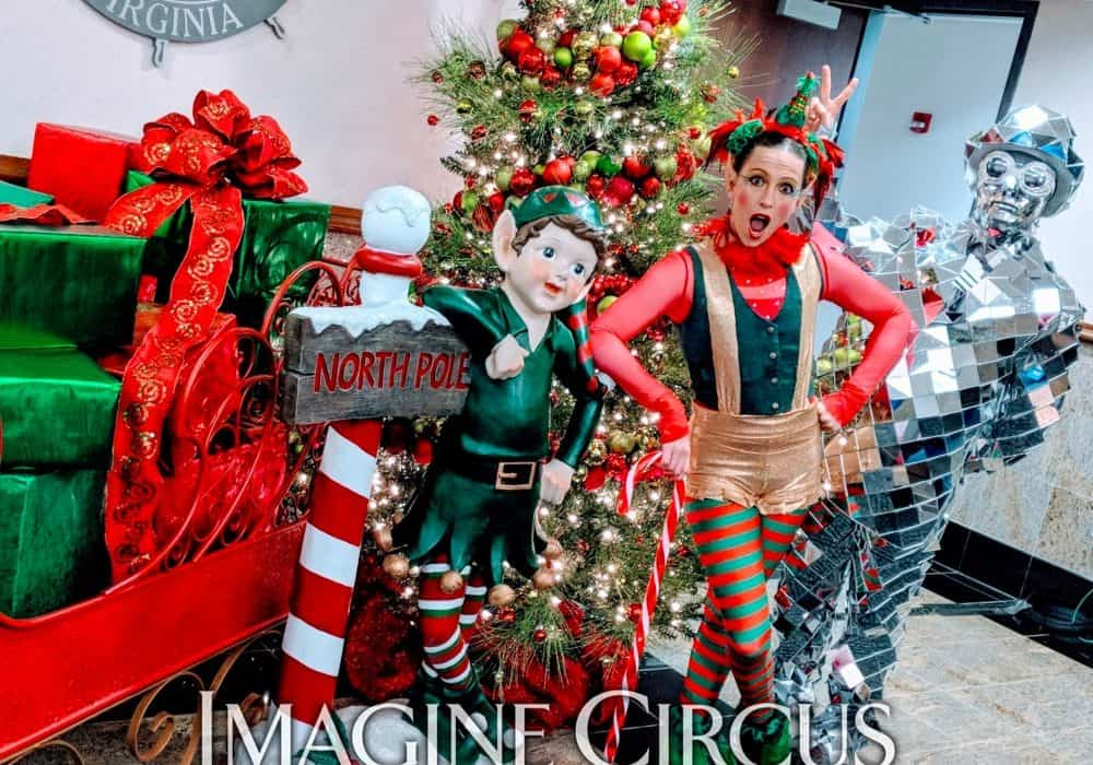 Elf Character, Mirror Man, Winter Holiday Entertainment, Katie, Newport News Virginia, Imagine Circus