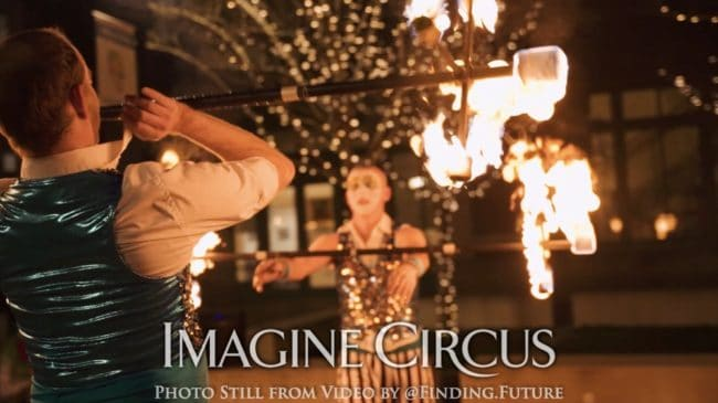 Fire Performers, Dragon Staff, Teal, Gold, Cirque, Imagine Circus, Adam, Jon, Oddball Gala, Photo Still from Video by Finding Future