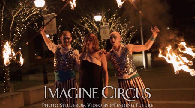 Fire Performers, Dragon Staff, Teal, Gold, Cirque, Imagine Circus, Adam, Jon, Oddball Gala, Photo Still from Video by Finding Future