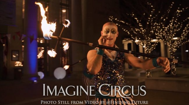 Fire Performer, Dragon Staff, Teal, Gold, Cirque, Imagine Circus, Adam, Oddball Gala, Photo Still from Video by Finding Future