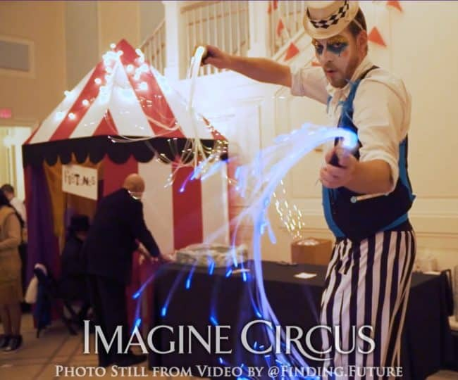 LED Fiberflies, Flow Arts, Teal, Gold, Cirque, Imagine Circus, Jon, Oddball Gala, Photo Still from Video by Finding Future
