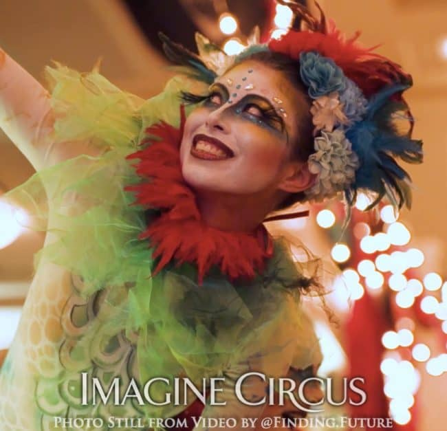 Acrobat, Teal, Green, Red, Cirque, Imagine Circus, Kaci, Oddball Gala, Photo Still from Video by Finding Future