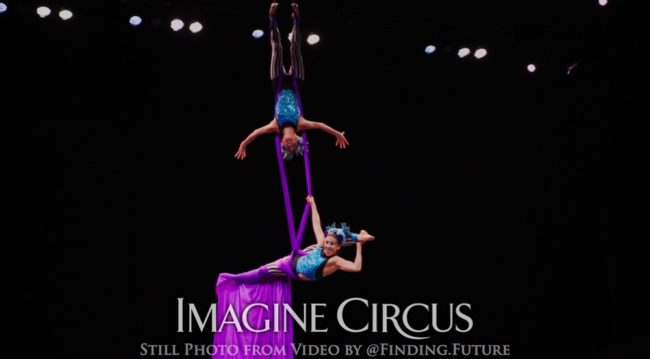 Partner Silks Aerial Duo, Kaci, Liz, Stage Show, DPAC Durham, Imagine Circus, Still from Video by Finding Future