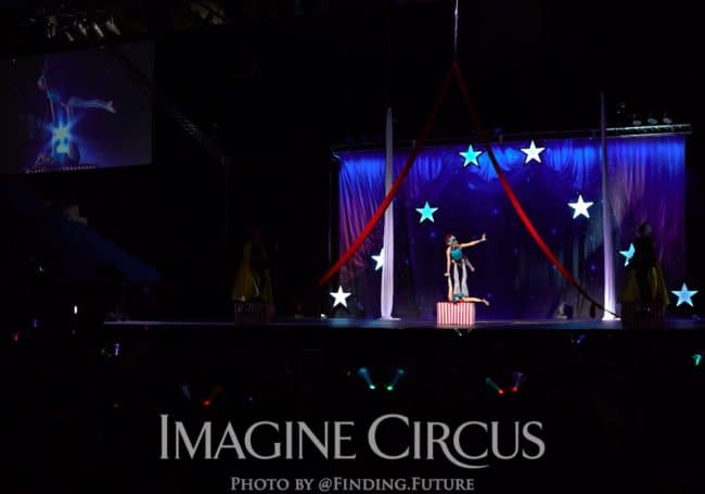 Acrobat Duo, Katie and Kaci, Cirque Celebration, Stage Show, Imagine Circus Performer, Photo by Finding Future