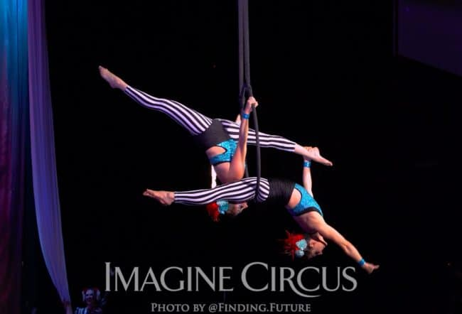 Aerialist, Aerial Hoop Lyra Duo, Katie and Liz Bliss, Cirque Celebration, Stage Show, Imagine Circus Performer, Photo by Finding Future