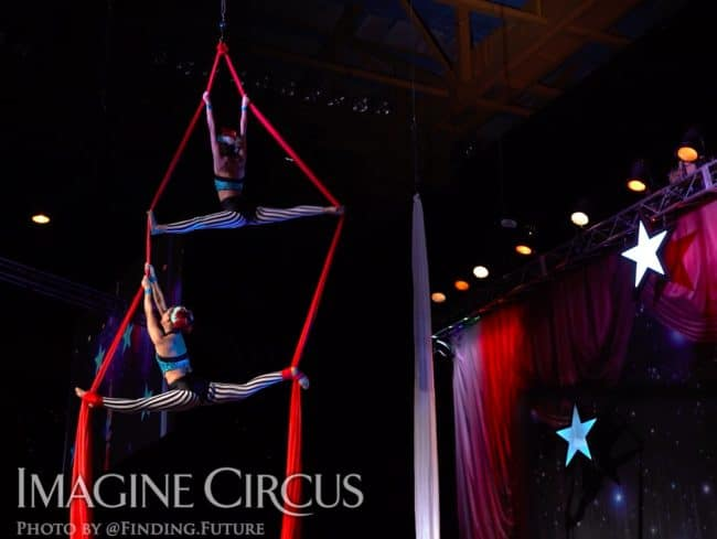 Aerialist, Aerial Silks Duo, Kaci and Liz Bliss, Cirque Celebration, Stage Show, Imagine Circus Performer, Photo by Finding Future