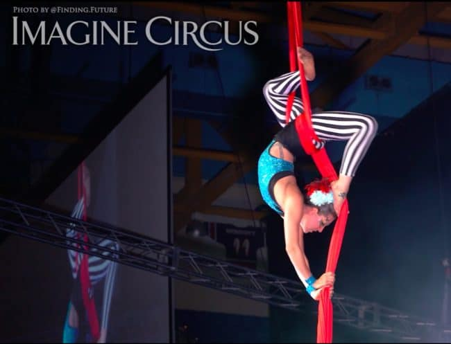 Aerialist, Aerial Silks, Liz Bliss, Cirque Celebration, Stage Show, Imagine Circus Performer, Photo by Finding Future