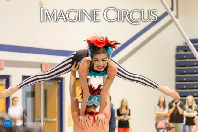 Cirque Spectacular Show, Acro Duo, Kaci and Katie, Clayton NC, Imagine Circus, Photo by Massive Motives