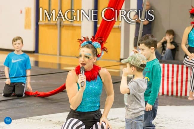 Cirque Spectacular Show, Audience Participation, Katie, Clayton NC, Imagine Circus, Photo by Massive Motives