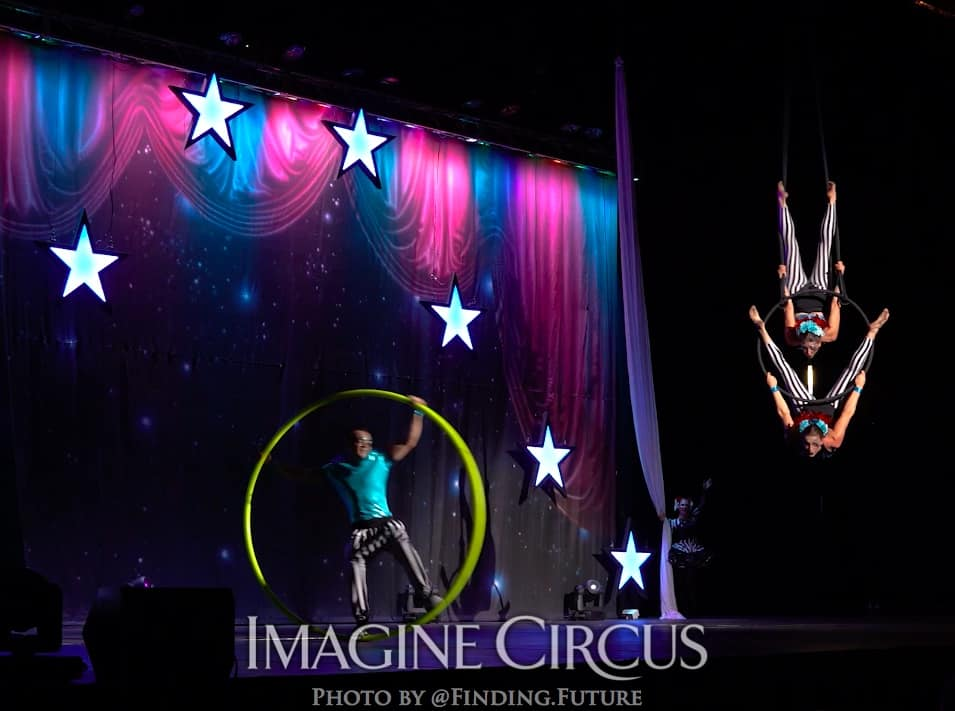 Cyr Wheel, Rocco, Aerialist, Aerial Hoop Lyra Duo, Katie and Liz Bliss, Cirque Celebration, Stage Show, Imagine Circus Performer, Photo by Finding Future