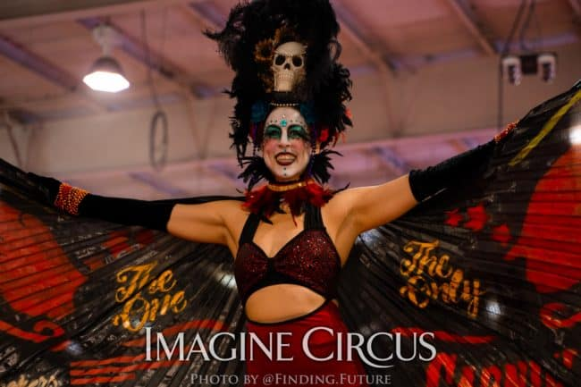 Dark Circus, Stilt Walker, Kaci, Logo Branded Wings, Vapers Carnivale, Imagine Circus Performers, Photo by Finding Future