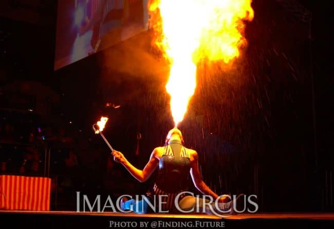 Fire Breather, Tik-tok, Cirque Celebration, Stage Show, Imagine Circus Performer, Photo by Finding Future