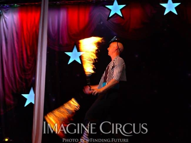 Fire Dancer, Adam, Cirque Celebration, Stage Show, Imagine Circus Performer, Photo by Finding Future