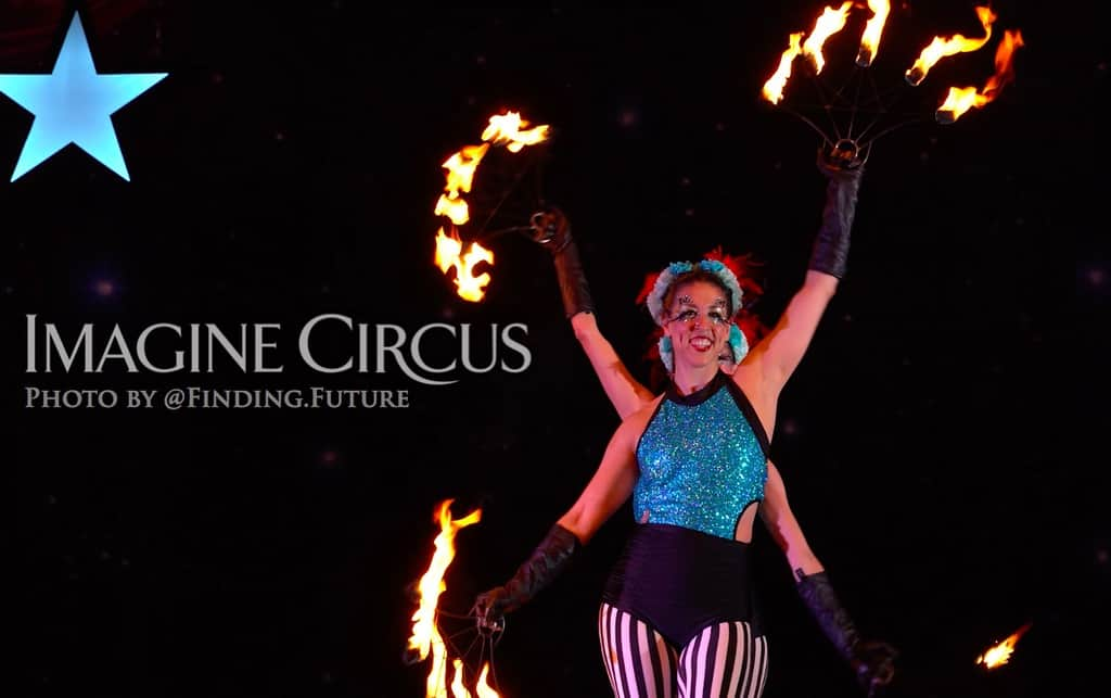 Fire Dancers, Kaci and Liz, Cirque Celebration, Stage Show, Imagine Circus Performer, Photo by Finding Future