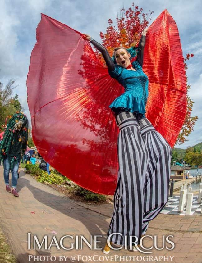Stilt Walker, LEAF Festival, Imagine Circus, Performer, Azul, Photo by Steve Atkins