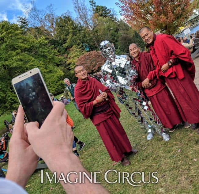 Mirror Man with Monks, LEAF Festival, Black Mountain, NC, Imagine Circus Performer