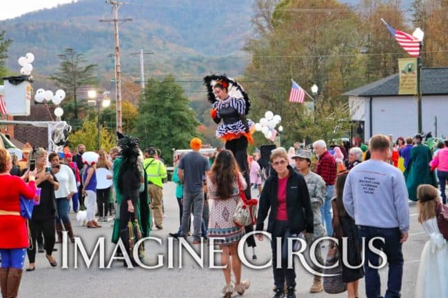 Stilt Walker, Liz Bliss, Halloween Fall Festival, Stuart, Virginia, Imagine Circus