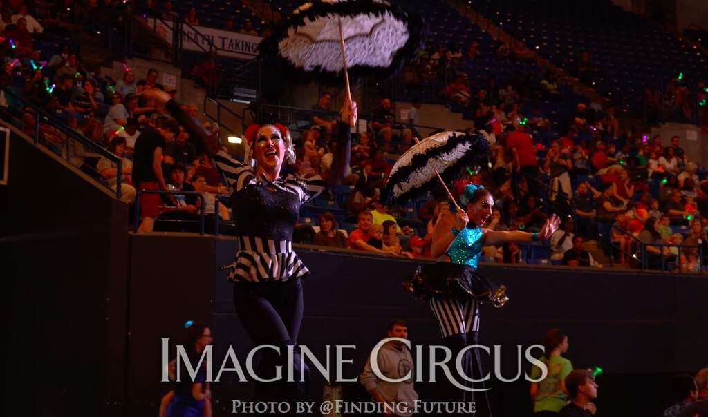 Stilt Walkers, Whitney and Katie, Cirque Celebration, Stage Show, Imagine Circus Performer, Photo by Finding Future
