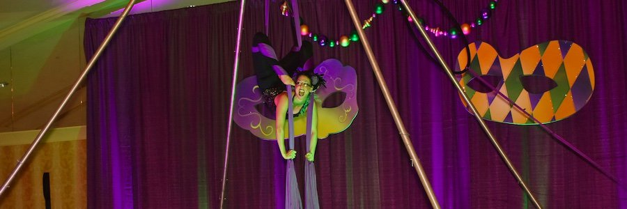 Aerialist, Aerial Silks Dancer, Mardi Gras, Liz, Louisville KY, Imagine Circus Performer