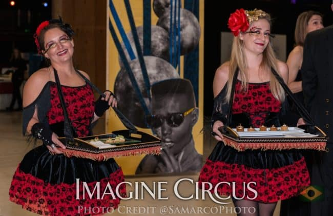 Irene, Lulu, Strolling Food Tray Service, VAE Gala Raleigh, Imagine Circus, Still from Video by Finding Future