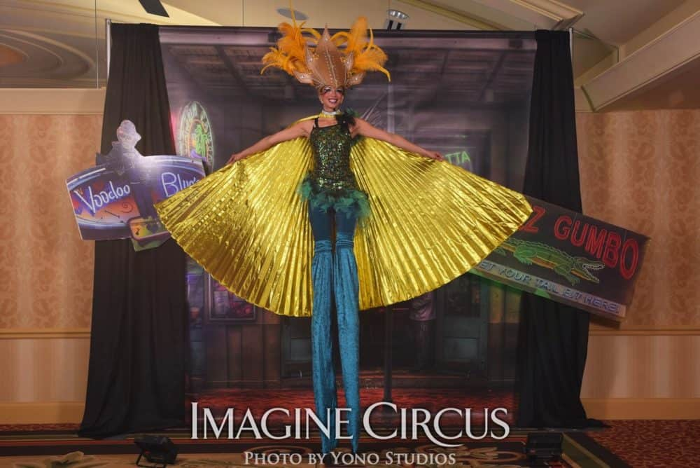 Mardi Gras Stilt Walkers with Isis Wings, Kaci, Louisville KY, Imagine Circus Performers, Photo by Yono Studios