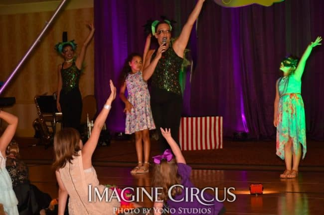 Stage Show Audience Participation, Mardi Gras, Louisville KY, Imagine Circus Performers, Photo by Yono Studios