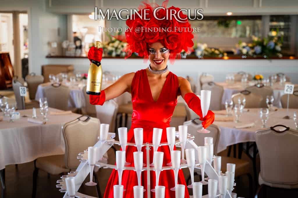 Strolling Champagne Girl, Fancy Drink Service, Red Rose Dress, Kaci, Imagine Circus Performer, Photo by Finding Future